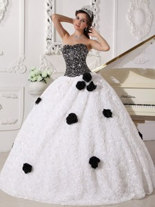 White And Black Ball Gown Strapless Floor-length Special Fabric Sequins Quince