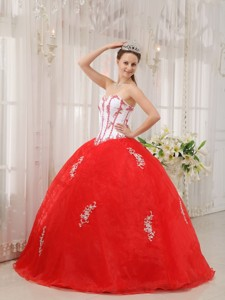 White and Red Ball Gown Sweetheart Floor-length Taffeta and Organza Appliques Quinceanera Dress