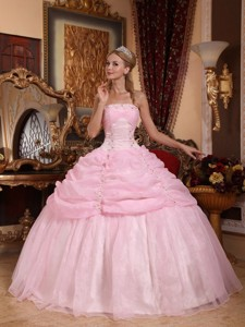 Baby Pink Ball Gown Strapless Floor-length Organza Appliques Quinceanera Dress
