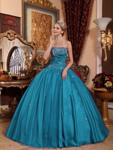 Teal Ball Gown Strapless Floor-length Taffeta and Tulle Appliques Quinceanera Dress