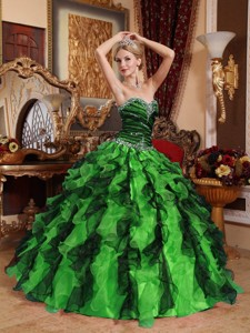 Ball Gown Green and Black Sweetheart Beading and Ruffles Quinceanera Dress