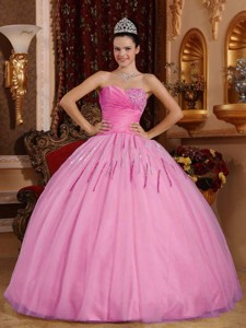 Rose Pink Ball Gown Sweetheart Floor-length Tulle Beading Quinceanera Dress