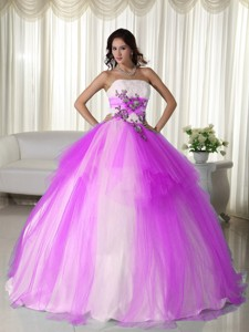 Hot Pink Ball Gown Strapless Floor-length Tulle Beading Quinceanera Dress