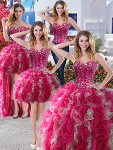 Perfect Big Puffy Organza Detachable Quinceanera Dress With Beading And Ruffles