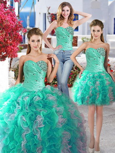 Perfect Beaded And Ruffled Detachable Quinceanera Dress With Really Puffy