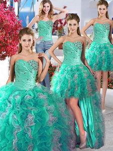 Cheap Turquoise And White Detachable Quinceanera Dress With Beading And Ruffles