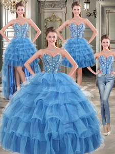 Modest Beaded And Ruffled Layers Detachable Quinceanera Dress In Blue