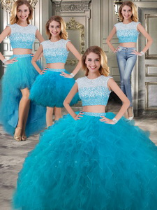 Modest Scoop Cap Sleeves Teal Detachable Sweet 16 Dress With Beading And Ruffles