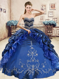 Luxurious Royal Blue Sweet 16 Dress with Beading and Embriodery