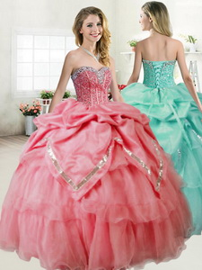 Gorgeous Beaded and Pick Ups Quinceanera Dress in Coral Red