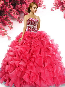 Inexpensive Beaded and Ruffled Big Puffy Quinceanera Dress in Red