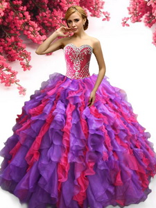 Latest Beaded and Ruffled Quinceanera Dress in Purple and Hot Pink