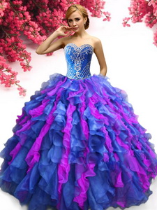 Beautiful Big Puffy Organza Quinceanera Dress with Beading and Ruffles