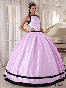 Ball Gown Bateau Floor-length Satin Quinceanera Dress in Baby Pink and Black