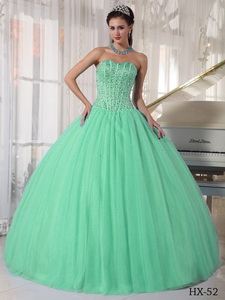 Apple Green Ball Gown Sweetheart Floor-length Tulle Beading Quinceanera Dress