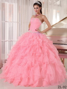 Watermelon Ball Gown Strapless Floor-length Organza Beading Quinceanera Dress