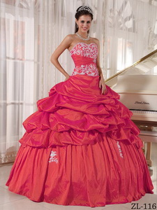 Red Ball Gown Sweetheart Floor-length Taffeta Appliques and Ruch Quinceanera Dress