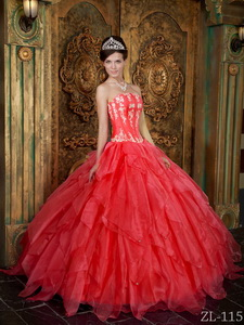 Gorgeous Ball Gown Strapless Floor-length Appliques Organza Coral Red Quinceanera Dress