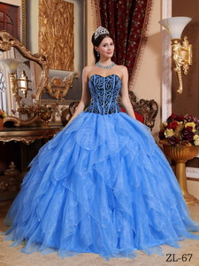 Blue Ball Gown Sweetheart Floor-length Organza Embroidery with Beading Quinceanera Dress