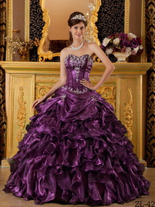 Dark Purple Ball Gown Sweetheart Floor-length Ruffles Organza Quinceanera Dress
