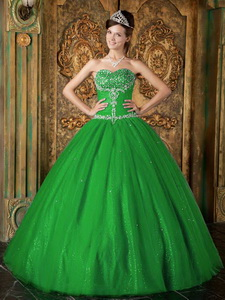 Green Princess Sweetheart Floor-length Beading Tulle Quinceanera Dress