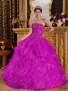 Fuchsia Ball Gown Strapless Floor-length Appliques Organza Quinceanera Dress