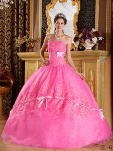 Rose Pink Ball Gown Strapless Appliques Organza Quinceanera Dress