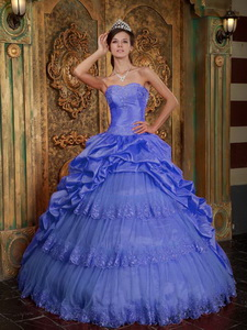 Purple Ball Gown Sweetheart Floor-length Taffeta and Tulle Lace Appliques Quinceanera Dress