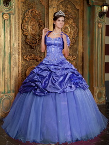 Purple Ball Gown Sweetheart Floor-length Taffeta and Organza Appliques Quinceanera Dress