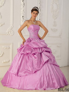 Rose Pink Princess Strapless Floor-length Taffeta Beading Quinceanera Dress