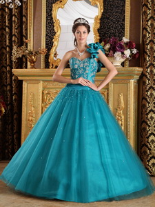 Teal Princess One Shoulder Floor-length Tulle Beading Quinceanera Dress