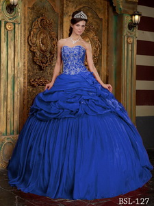 Blue Ball Gown Sweetheart Floor-length Taffeta Beading and Appliques Quinceanera Dress