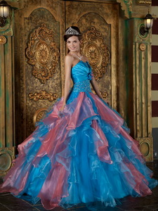 Blue Ball Gown Strapless Floor-length Organza Beading and Ruffles Quinceanera Dress