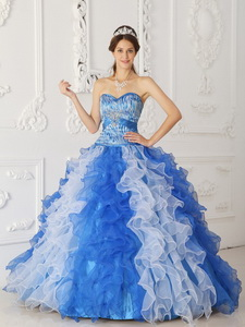 Multi-color Princess Sweetheart Floor-length Organza Beading Quinceanera Dress