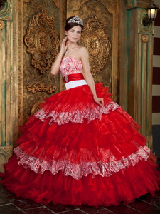 Red Ball Gown Strapless Floor-length Organza and Zebra Ruffles Quinceanera Dress