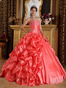 Watermelon Red Ball Gown Sweetheart Floor-length Taffeta Emboridery and Beading Quinceanera Dress