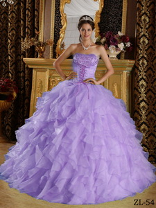Lavender Ball Gown Strapless Floor-length Satin and Organza Embroidery with Beading Quinceanera Dres