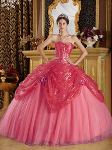Coral Red Ball Gown Sweetheart Floor-length Sequined and Tulle Handle Flowers Quinceanera Dress