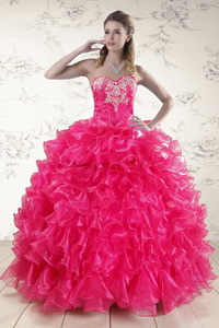 Pretty Hot Pink Sweet 15 Dress With Appliques And Ruffles