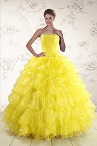 New Style Yellow Quinceanera Dress With Beading And Ruffles