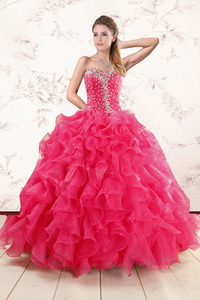 Pretty Beading And Ruffles Sweet 15 Dress In Hot Pink