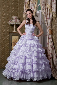 Lilac One Shoulder Floor-length Elastic Woven Satin Beading Ruffled Layers Quinceanea Dress