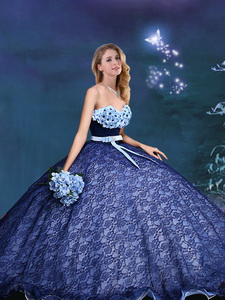 Beautiful Applique and Bowknot Laced Prom Gown in Royal Blue
