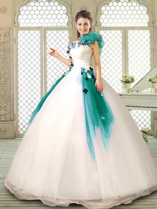 Perfect Appliques Multi Color Quinceanera Dress With Ruffles