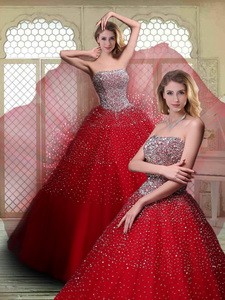 Luxurious Strapless Beading Quinceanera Dress In Wine Red