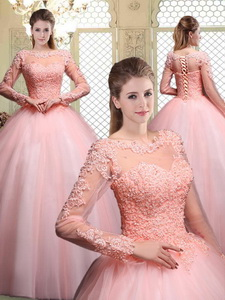 Pretty Bateau Long Sleeves Beading And Appliques Quinceanera Dress