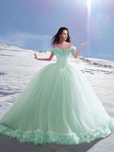 Popular Off the Shoulder Hand Made Flowers Quinceanera Dress in Apple Green