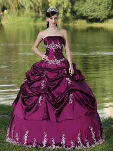 Custom Made Euchsia Quinceanera Dress Party Wear With Satin Embroidery Decorate