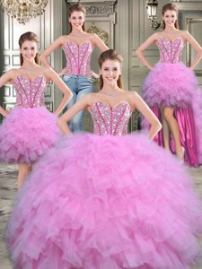 Exquisite Big Puffy Lilac Detachable Quinceanera Dress With Beading And Ruffles