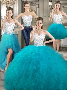 Affordable Beaded And Ruffled Detachable Quinceanera Dress In Teal And White